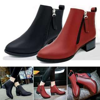 Woman winter ankle low heel boots