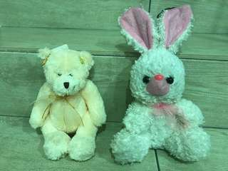 Bear and rabbit soft toy