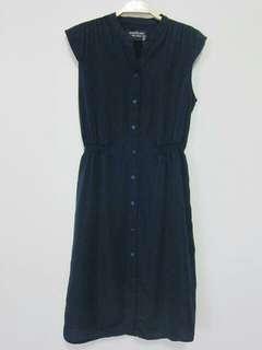 🚚 深藍色縮腰氣質洋裝