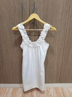 Semi-Formal White Silky Dress with Rosette Neckline