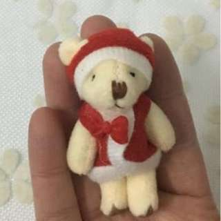 Free postage - 6.5 cm height christmas mini bears for crafting and hanging on christmas tree