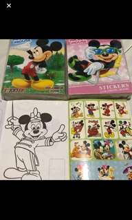 Instock mini Mickey Mouse Coloring And Stickers Book ht14cm wt 10.5cm