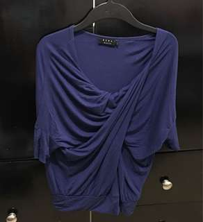 Blue twist front blouse