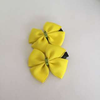 Ribbon Bow Clip Set - Yellow