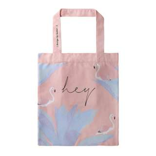 PO Flamingo bird print Hey tote bag pink colour
