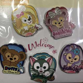 香港 迪士尼  徽章 Disney Pin Duffy Cookie Pin Set