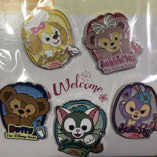 香港 迪士尼  徽章 Disney Pin Duffy Cookie Pin Set