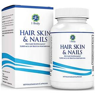 [IN-STOCK] Hair, Skin, & Nails Vitamins – 5000 mcg of Biotin to Make Your Hair Grow & Skin Glow with 25 Other Vitamins - Nail Growth and Skin Care Formula for Men & Women - By 1 Body