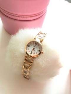 日本 AngelHeart woman lady watch 原價1500hkd up 粉紅閃石 幼帶手錶 全新 未拆封