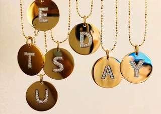 歐美單26英文字母18k金搭配珠珠頸鏈❤️全新時尚百搭🎁女朋友生日禮物推薦