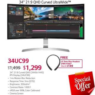 "LG 34UC99  34"" 21:9 QHD Curved UltraWide™ Monitor. ( Till...15 Aug 18..Ends )"