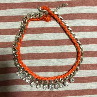 Silver Necklace with Orange Embroidery
