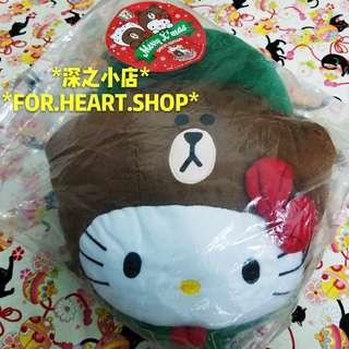 7 11 LINE FRIENDS X SANRIO CHARACTERS 聖誕別注版 聖誕友LOVE頭暖腳咕𠱸 熊大 Brown Hello Kitty 暖腳咕𠱸