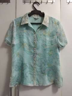 Hawaiian Teal Button Down