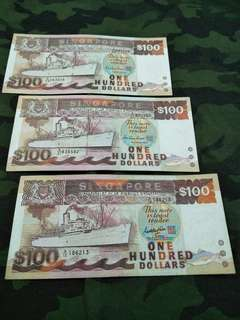 Ship Series old $100 notes 3pc x 115 =$345