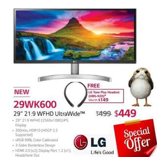 "LG 29WK600 29"" 21:9 WFHD UltraWide™ Monitor. ( Till...15 Aug 18..Ends )"