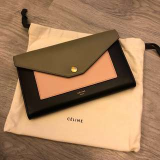 Celine Large Pocket Flap on Chain Clutch Wallet on Chain