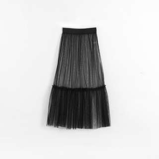 透視感拼接網紗造型裙
