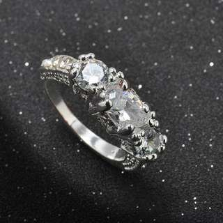 Fashion Silver Plated Zircon Ring