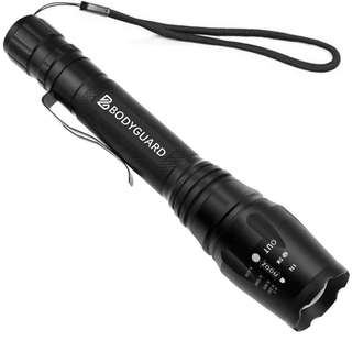 41.Bodyguard LED Torch Light, Waterproof Ultra Bright 1200 Lumen CREE LED Flashlight, 5-Mode Adjustable Focus Zoomable Camping Torch, Powered by 18650 Batteries (Battery Not included)