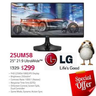 "LG 25UM58 25"" 21:9 UltraWide™ Monitor.  ( Offer Till...15 Aug 2018..Ends )"