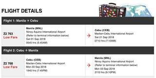 RT Ticket to Cebu