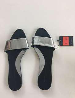 ZARA silver metallic flat sandals