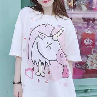 PO Unicorn hearts t-shirt ulzzang