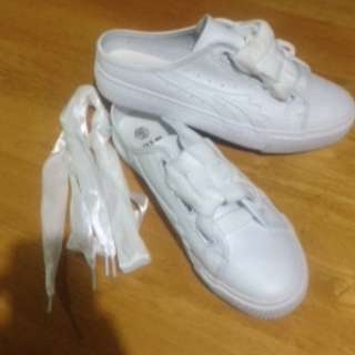 Slipper Sneakers! or half shoes/sneaker mule.  Very cute! with extra ribbon lace