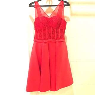 Rope Bow Red Simple Dress