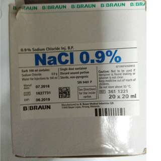 NaCl Sodium Chloride 0.9%  20ml x 20