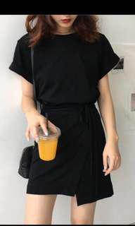 綁帶連身黑洋裝 全新
