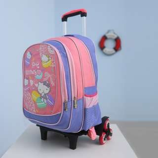 NEW! Kids Children Kitty 6 Wheel Trolley School Backpack Bag