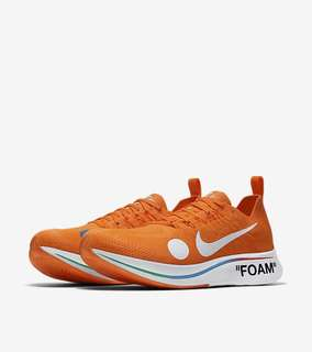 (9.5) Nike X Off White Zoom Fly Mercurial, Orange