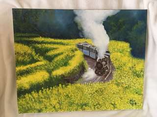 Painting 油畫 - Train inside Rape Field 油菜花田中的火車