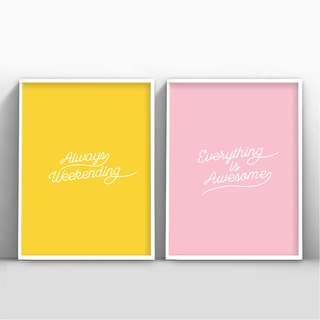 Summer Quotes Yellow Pink Wall Frame Calligraphy Weekend
