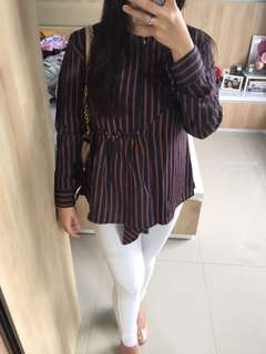 Stripes Blouse Busui Friendly - NEW