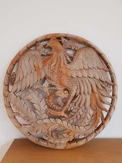Teak Wood wall deco-Phoenix Rooster