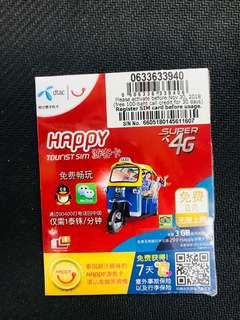 泰國電話卡 泰國最抵用DTAC Happy卡 全泰國7日 4G 無限上網卡送100 Baht 電話費 泰國無限數據