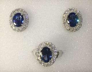 Oval Blue Sapphire Set