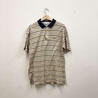 🚚 條紋 黃色 白色 oversized 立領 POLO衫 短袖上衣 古著 二手