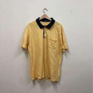 🚚 黃色 oversized 立領 POLO衫 短袖上衣 古著 二手