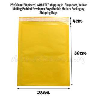 (Plenty of ready stock!) Premium Quality, Bubble not easy to deflat. 25x30cm (20 pieces) with FREE 2-3 working days Qxpress shipping in Singapore, Yellow Paper Mailing Padded Envelopes Bags Bubble Mailers Packaging Shipping Bags