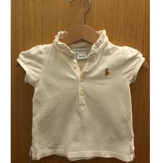 White baby girl polo tee top