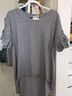 Satcas grey frilled shirt