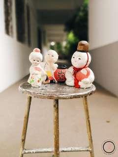 DC051 Bundle of vintage Japanese ceramic statuettes 日本陶瓷摆设品