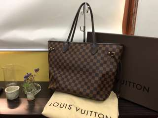 Authentic Louis Vuitton Neverfull MM in Damier Ebene Complete with Box, Dustbag