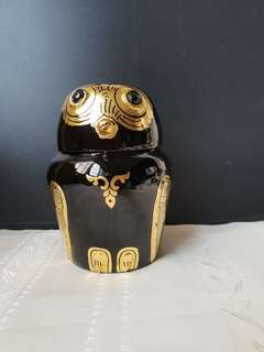 18K Gold Leaf Bamboo Base Lacquer Hand Painted Black and Gold Owl Container