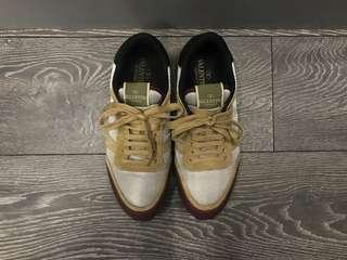 Valentino Garavani Uomo Silver & Burgundy Leather with Orange & Tan Suede Rockrunner Sneakers