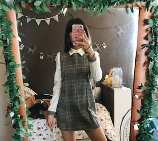 super cute plaid vintage style collared petite winter dress 💕